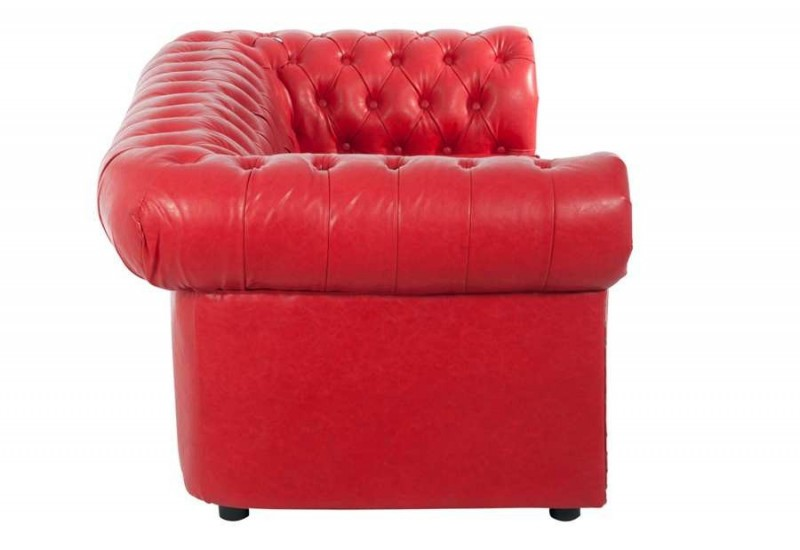 canap chesterfield 2 places en similicuir rouge 175x98x73cm j line. Black Bedroom Furniture Sets. Home Design Ideas