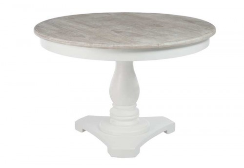 Table ronde blanche avec pied central plateau bois naturel for Table ronde plateau verre pied central