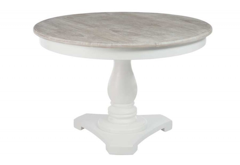 Table ronde blanche avec pied central plateau bois naturel for Table ronde a rallonge blanche