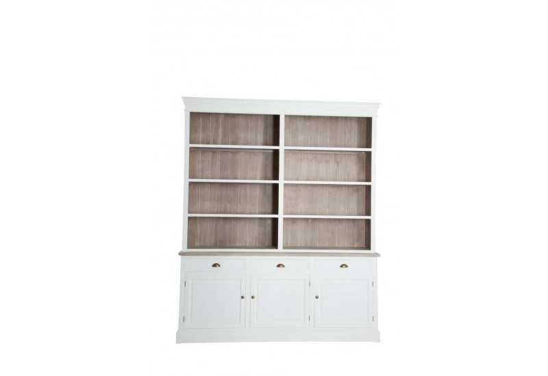 biblioth que campagne chic en bois blanc et naturel 191x40x227cm j. Black Bedroom Furniture Sets. Home Design Ideas