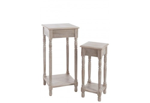 Set de 2 sellettes campagne chic en bois brut naturel 40X40X82Cm Lot de 2