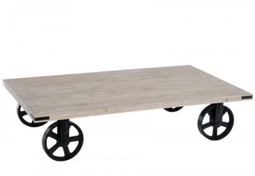 Table de salon chariot en bois naturel 145X80X33Cm