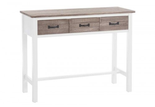 console campagne chic 3 tiroirs en bois blanc et naturel 95x36x76cm. Black Bedroom Furniture Sets. Home Design Ideas