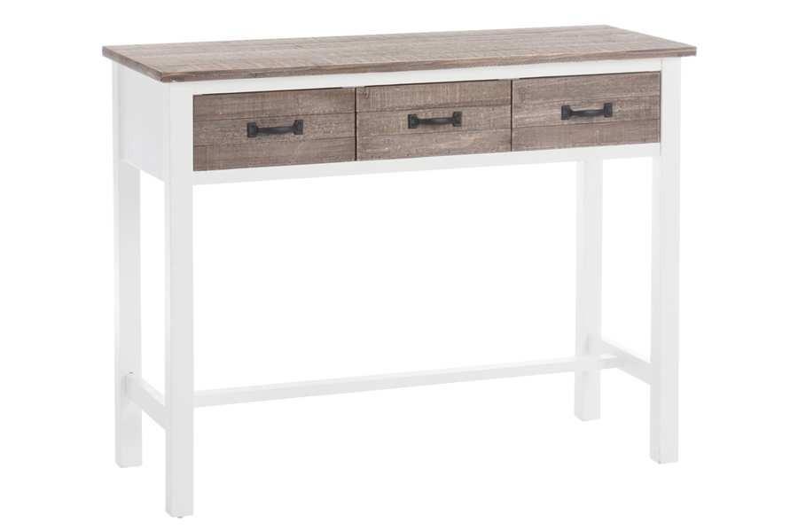 console campagne chic 3 tiroirs en bois blanc et naturel 95x36x76cm