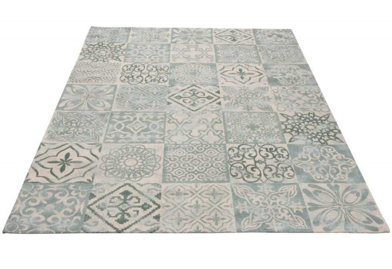 tapis chenille en coton gris bleu 200x300cm j line by. Black Bedroom Furniture Sets. Home Design Ideas