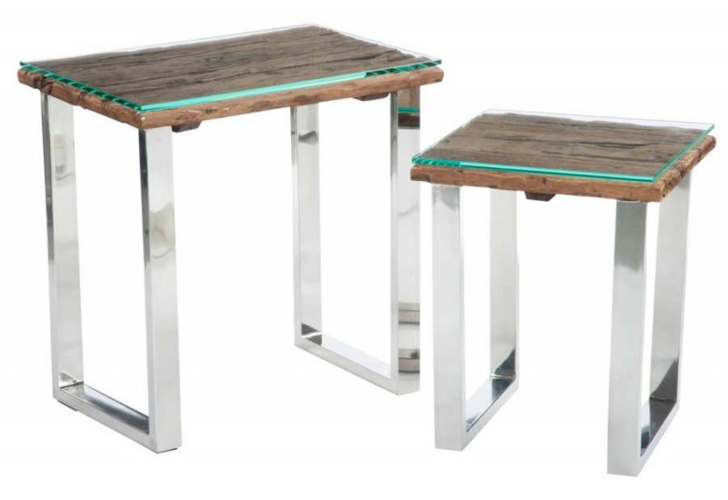 Set de 2 table gigognes design nature chrome plateau bois massif br - Plateau table bois massif ...