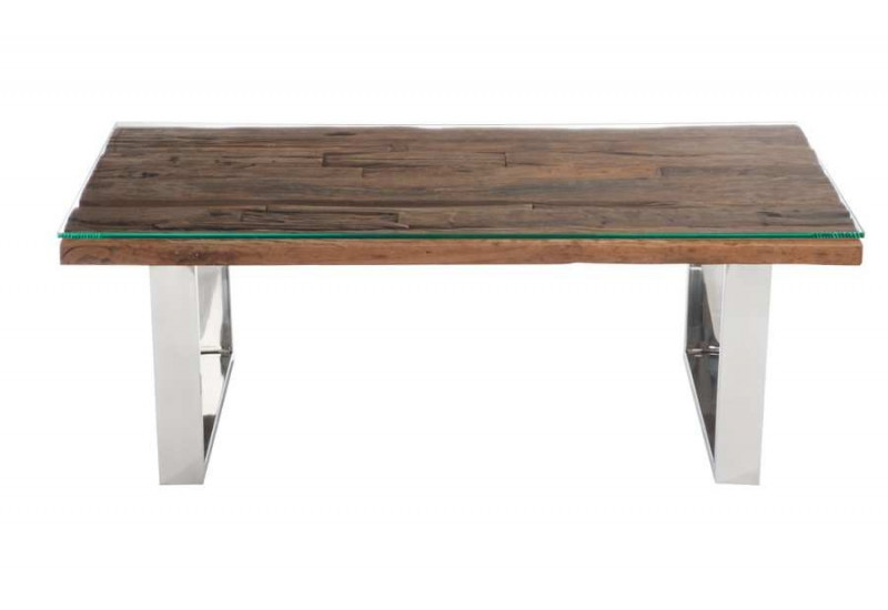 Table basse rectangulaire design nature chrome plateau bois massif - Proteger une table en bois brut ...