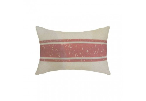 Coussin rectangulaire lin brut à rayures rouge