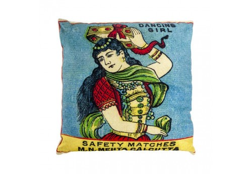 Coussin exotique visuel dancing girl turquoise