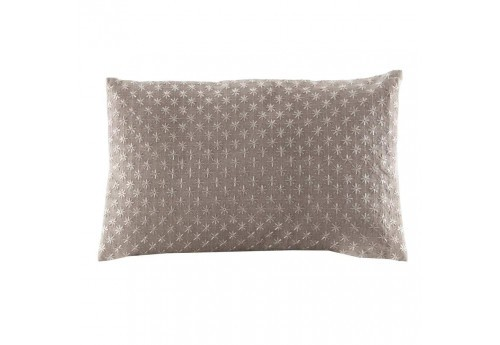 Coussin rectangulaire en lin taupe broderie petites étoiles blanches