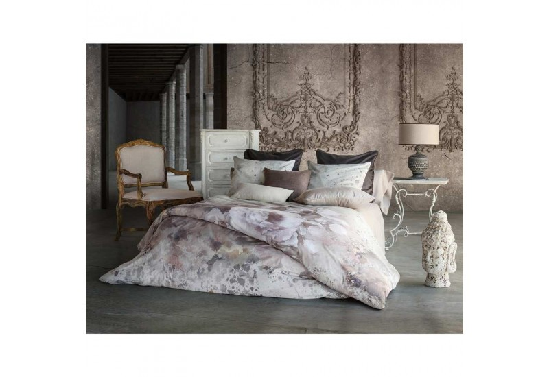 housse de couette aquarelle visuel fleurs de lys gris clair 220x240. Black Bedroom Furniture Sets. Home Design Ideas