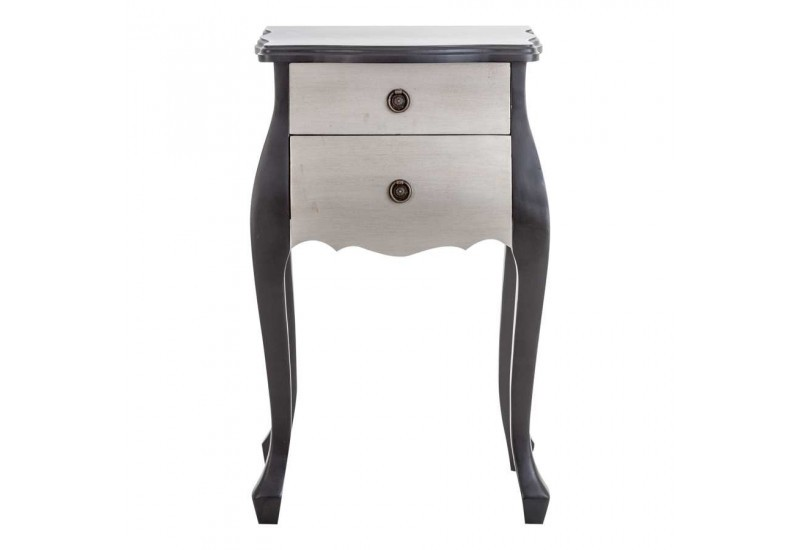 Table de chevet galb e noir et argent vical home 22531 for Table de chevet noire