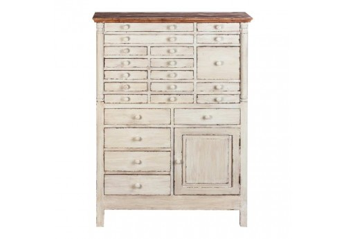 buffet haut shabby chic en bois patin vieilli blanc multi tiroirs. Black Bedroom Furniture Sets. Home Design Ideas