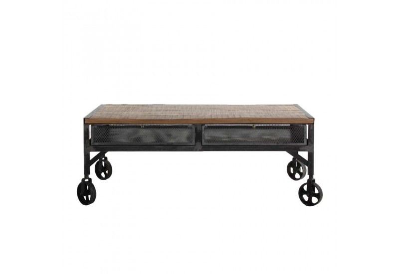 table basse industriel sur roulettes en m tal us plateau brut et t. Black Bedroom Furniture Sets. Home Design Ideas
