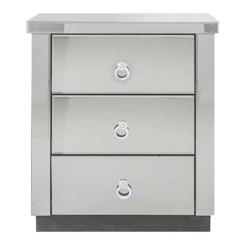 table de nuit 3 tiroirs en bois fa ade miroir vical home 22608. Black Bedroom Furniture Sets. Home Design Ideas