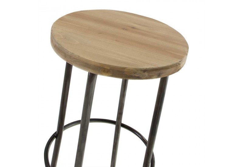 tabouret de bar en m tal et assise en bois brut epic a. Black Bedroom Furniture Sets. Home Design Ideas