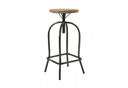 tabouret de bar atelier m tal et bois brut vical home 22641. Black Bedroom Furniture Sets. Home Design Ideas