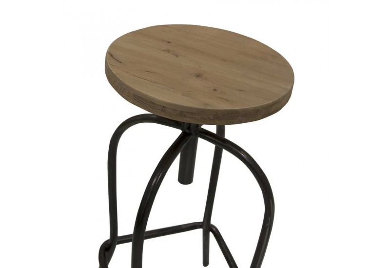 tabouret de bar atelier m tal et bois brut vical home vh 21550. Black Bedroom Furniture Sets. Home Design Ideas