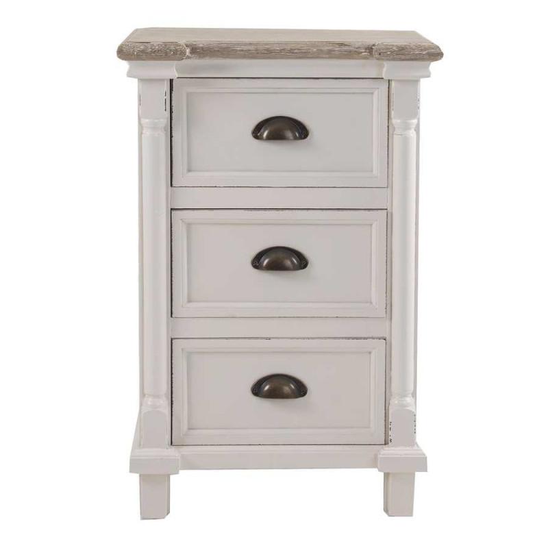 Table de chevet classique chic blanche 3 tiroirs vical - Table de chevet classique ...