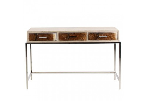 console design moderne chic en acier 3 tiroirs en peau de vache vic. Black Bedroom Furniture Sets. Home Design Ideas