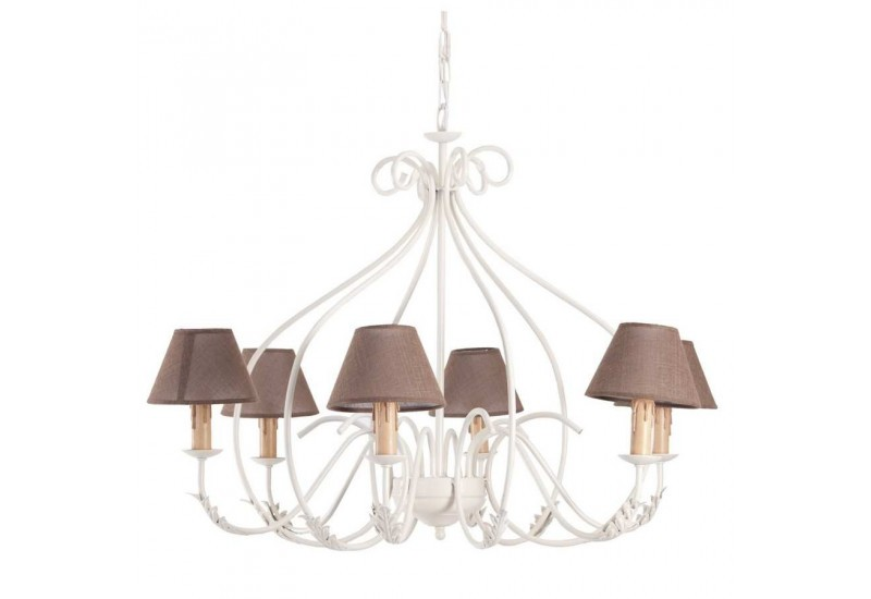 lustre 6 lampes cr me avec abat jour marron vical home vical home 2. Black Bedroom Furniture Sets. Home Design Ideas