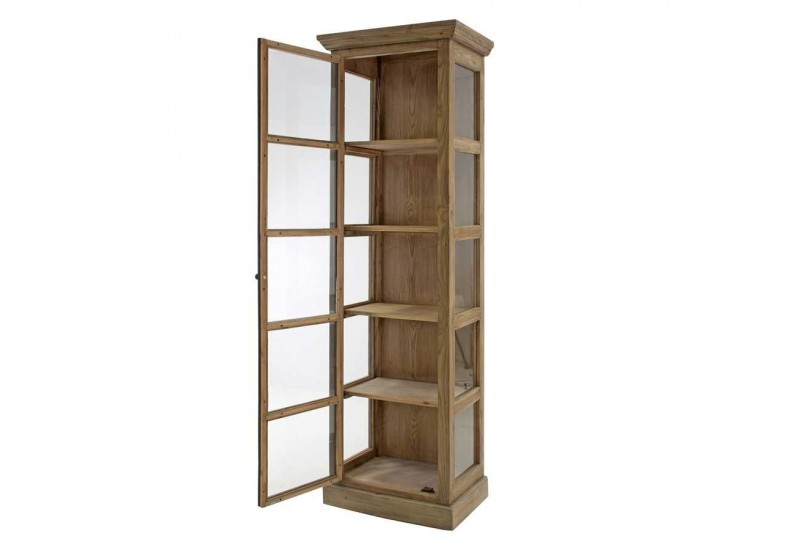 vitrine 1 porte en bois naturel et porte en m tal noir vical home v. Black Bedroom Furniture Sets. Home Design Ideas