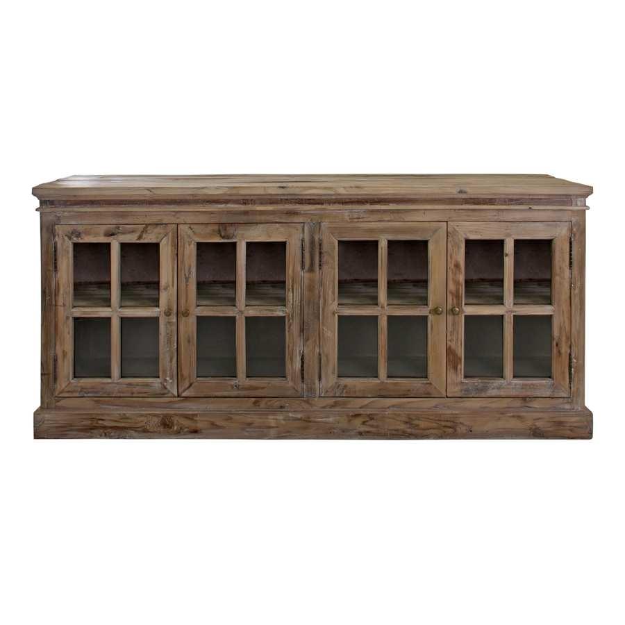 buffet 4 portes vitres en bois naturel vical home - Bahut Noir Bois
