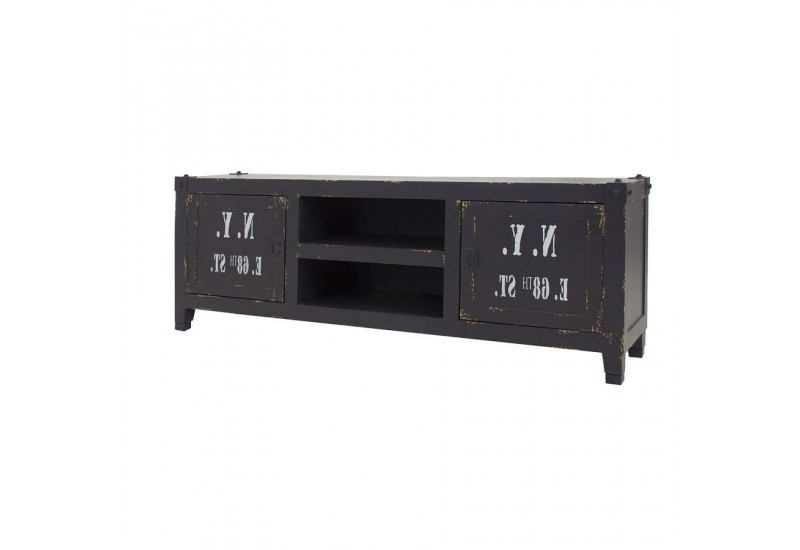 meuble tv 2 portes style container noir industriel vical home vical. Black Bedroom Furniture Sets. Home Design Ideas