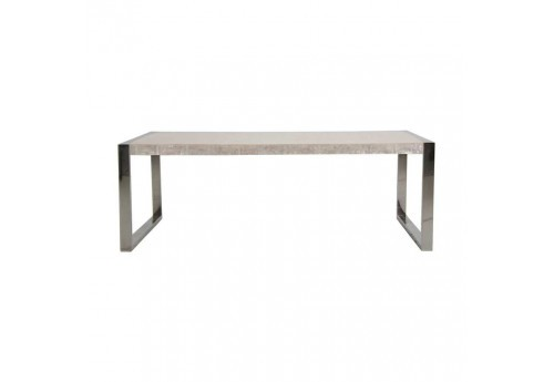 Table de salon moderne pied chrome et plateau bois naturel brut Vical Home