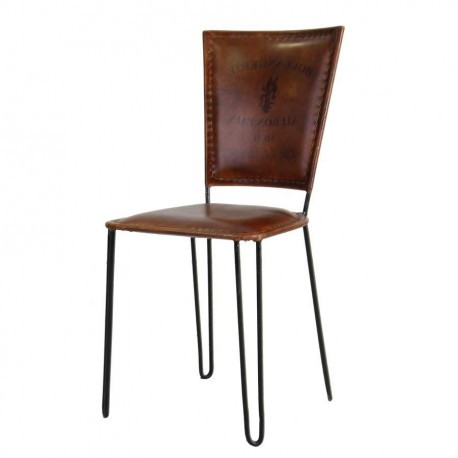 Chaise industrielle en m tal assise en cuir marron vical - Chaises cuir marron ...