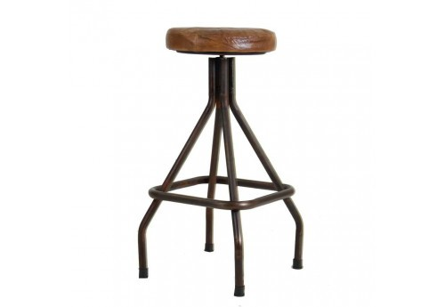 Tabouret en métal avec assise marron Vical Home