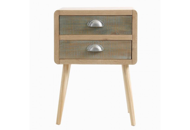 Table de chevet 2 tiroirs en bois brut scandinave vical for Table de chevet campagne
