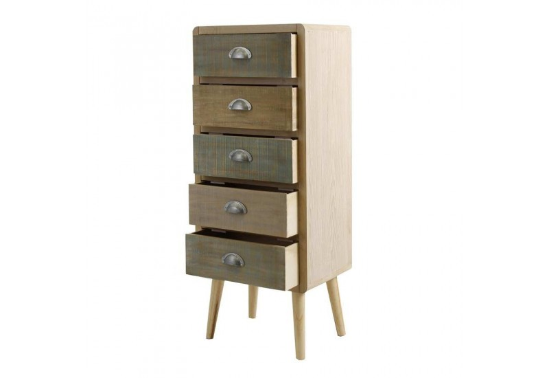 chiffonnier 5 tiroirs bicolore scandinave vical home vical home 23331. Black Bedroom Furniture Sets. Home Design Ideas