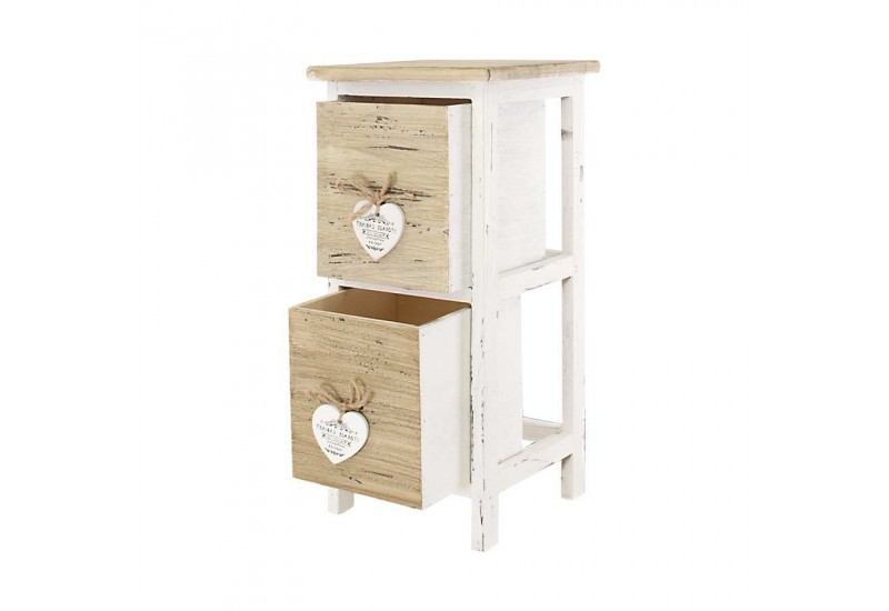 meuble d 39 appoint 2 tiroirs en bois brut et blanc avec petit c ur bl. Black Bedroom Furniture Sets. Home Design Ideas