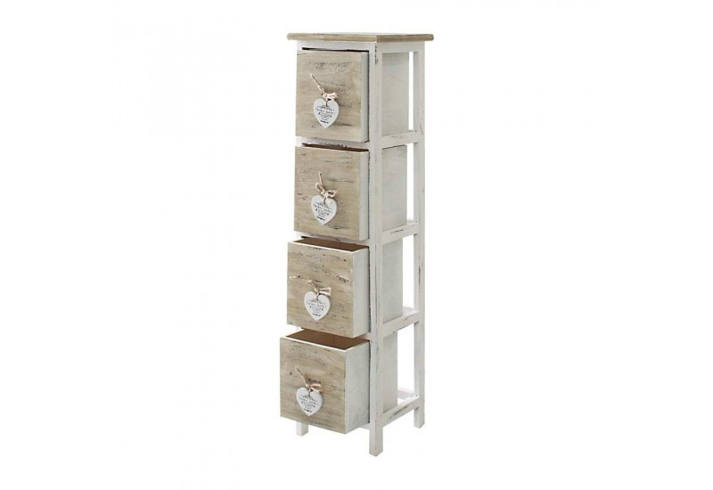 meuble d 39 appoint 4 tiroirs en bois brut et blanc avec petit c ur bl. Black Bedroom Furniture Sets. Home Design Ideas