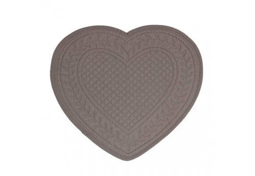 Set de table boutis coeur 30x30 cm gris foncé Coté Table (Lot de 12)