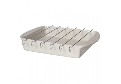 Plat à brochettes Barbecue en grès Feston 38x27 cm gris Coté Table (Lot de 2)