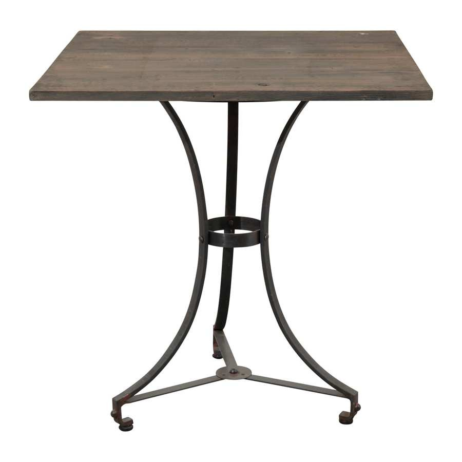 table bistrot carré industriel collection cargo 72x72x75gris coté t