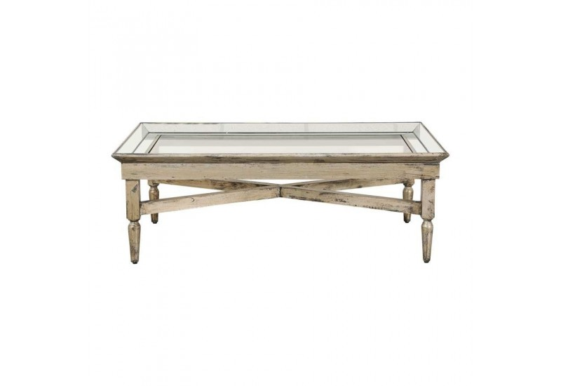 Table basse rectangulaire en bois miroir patine mordor e - Miroir cote table ...