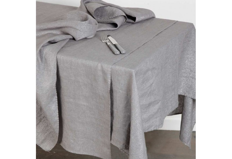 nappe rectangulaire en lin et lurex 260x147 cm gris cot table c t. Black Bedroom Furniture Sets. Home Design Ideas