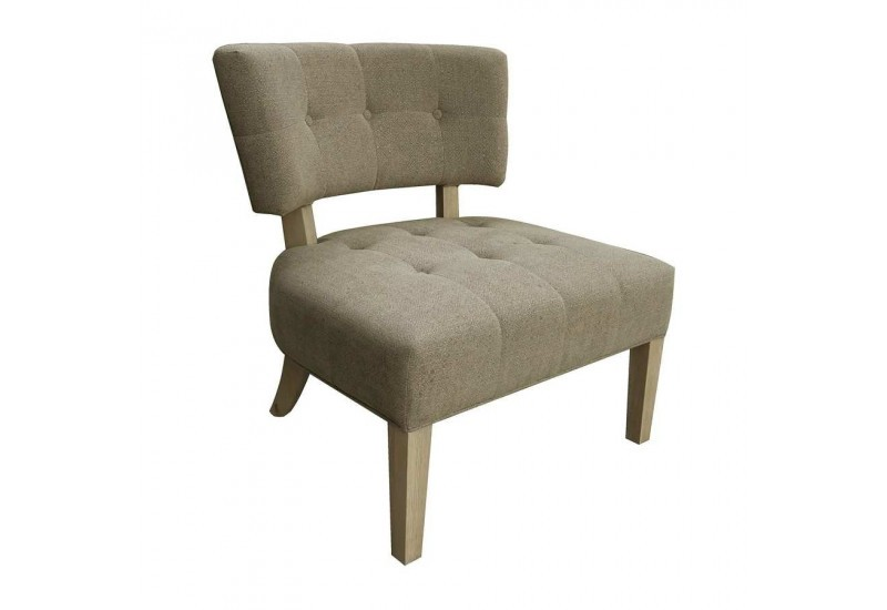 Fauteuil contemporain chic en lin collection Scala 70.5 cm gris poi...