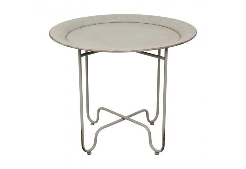 Table de jardin contemporain chic rosace d81xh67cm gris antique cot - Table de jardin contemporaine ...
