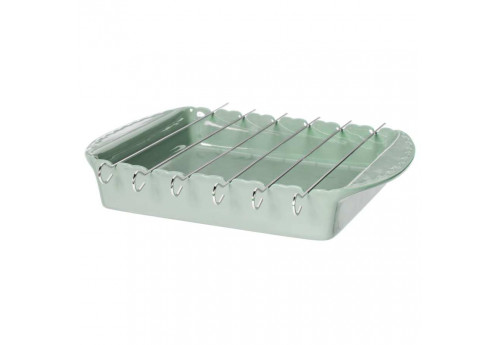 Plat à Brochette Barbecue en grès Feston 38x27 cm vert d'eau Coté Table (Lot de 2)