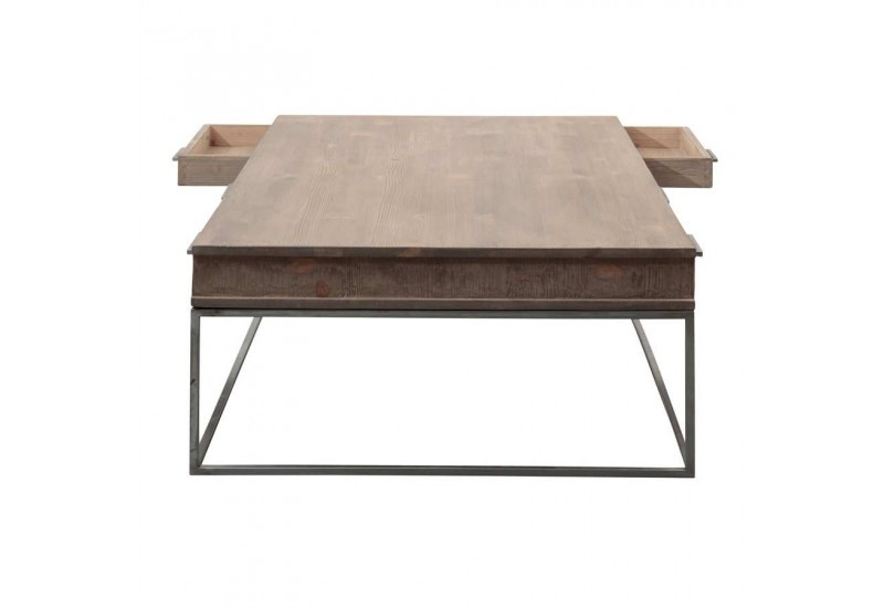 Table basse 3 tiroirs loft bois et m tal 140x80x40cm for Table basse scandinave bois et metal