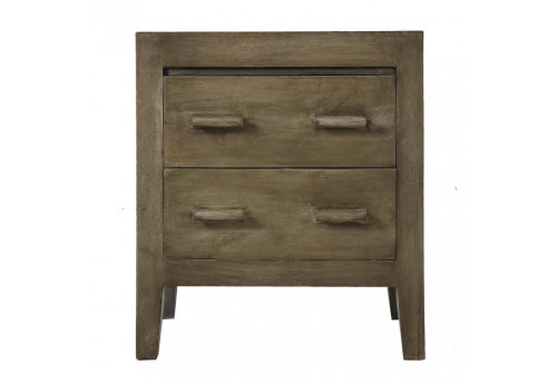 Table de chevet 2 tiroirs en manguier gris Vical Home
