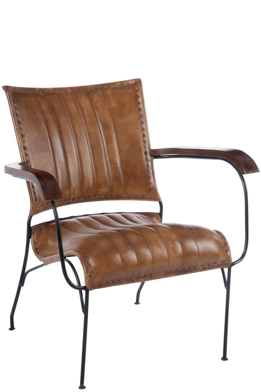 Fauteuil retro en cuir cognac et métal 43x43x43cm J-Line by Jolipa... - Fauteuil Retro
