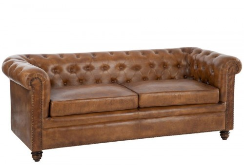 canap chesterfield en cuir cognac 185x77x79cm j line by jolipa 24804. Black Bedroom Furniture Sets. Home Design Ideas
