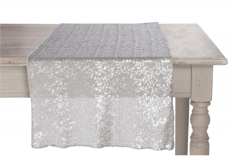 Chemin de table paillettes gris fonc 42x150cm j line by for Chemin de table gris