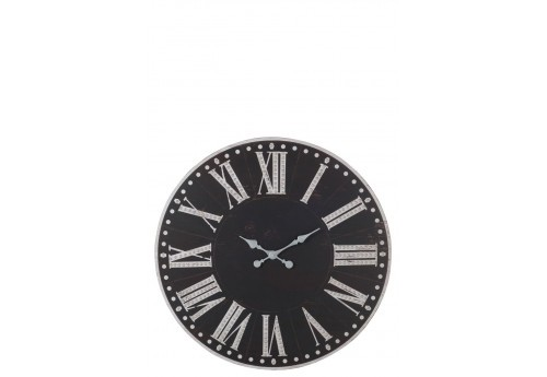 horloge chiffres romains m tal noir blanc 89x4 3cm j line. Black Bedroom Furniture Sets. Home Design Ideas