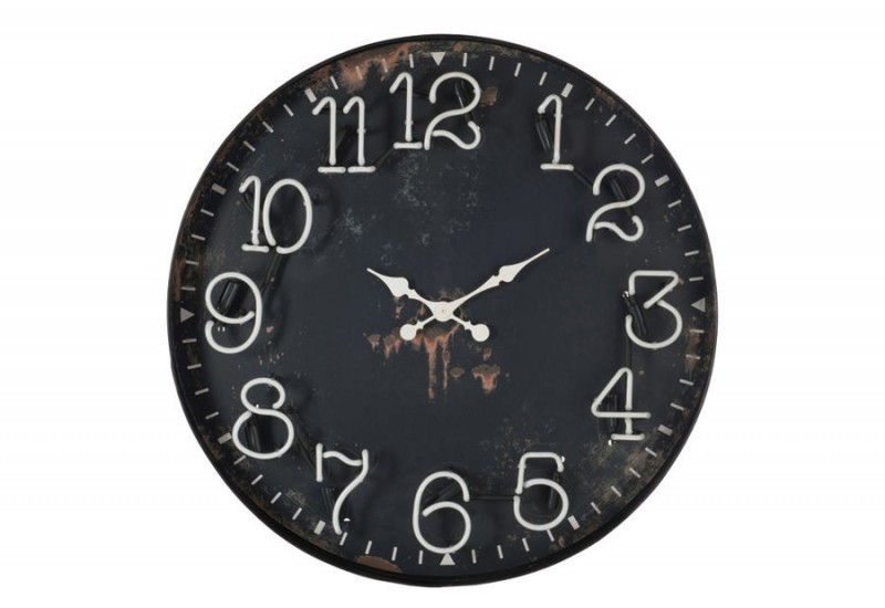 horloge chiffres led m tal noir 91 5x12 5cm j line by jolipa 24924. Black Bedroom Furniture Sets. Home Design Ideas